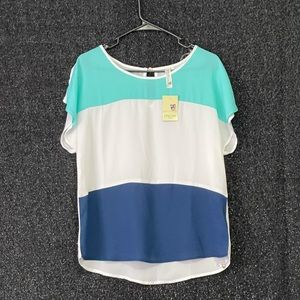 NWT Pink Owl Apparel Color Block Blouse
